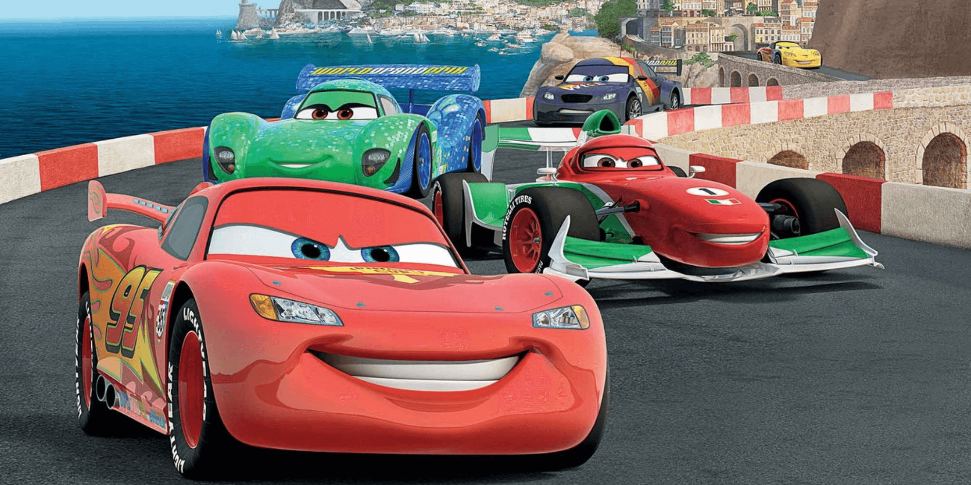 Lightening McQueen and other racers from Cars