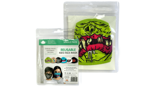 Green Monster Smile Kids Face Mask