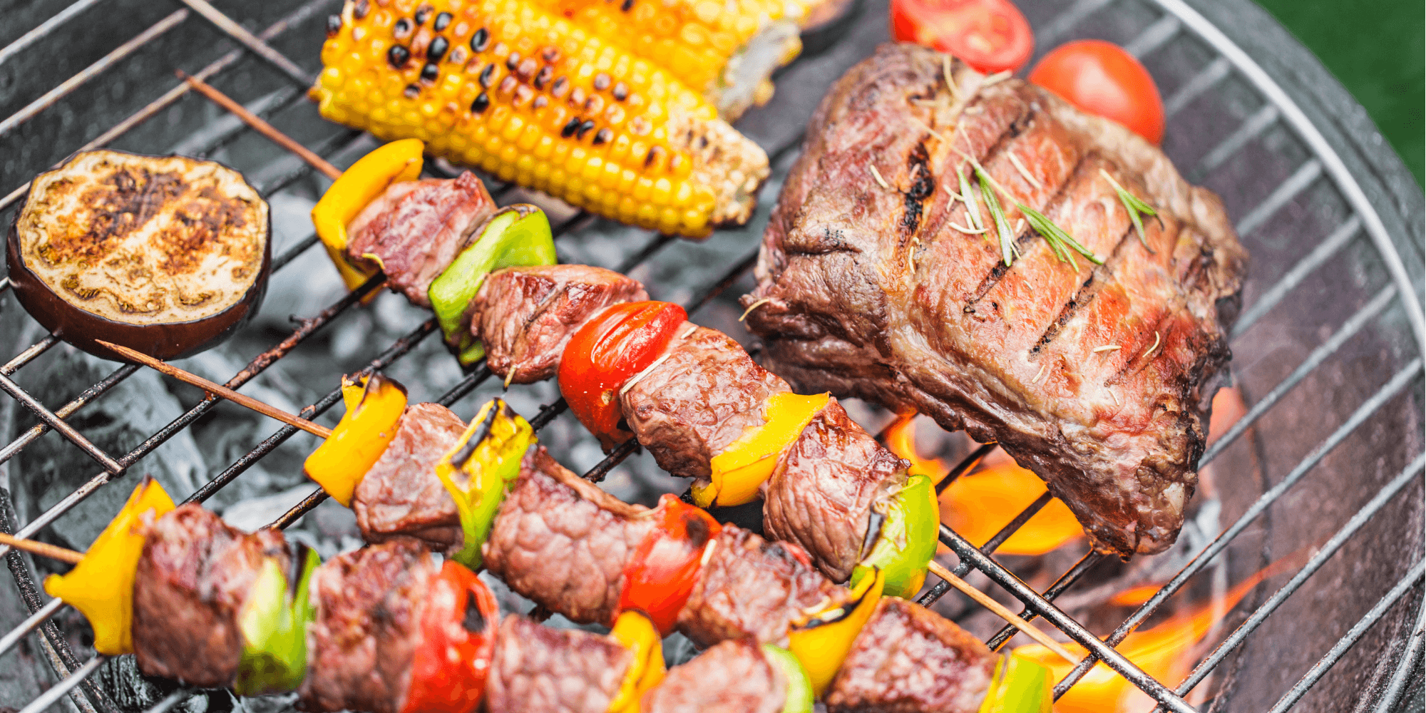 Food on the grill at a BBQ