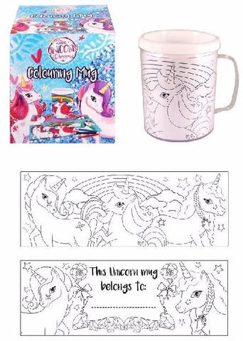 Unicorn Colouring Mug packaging and contents