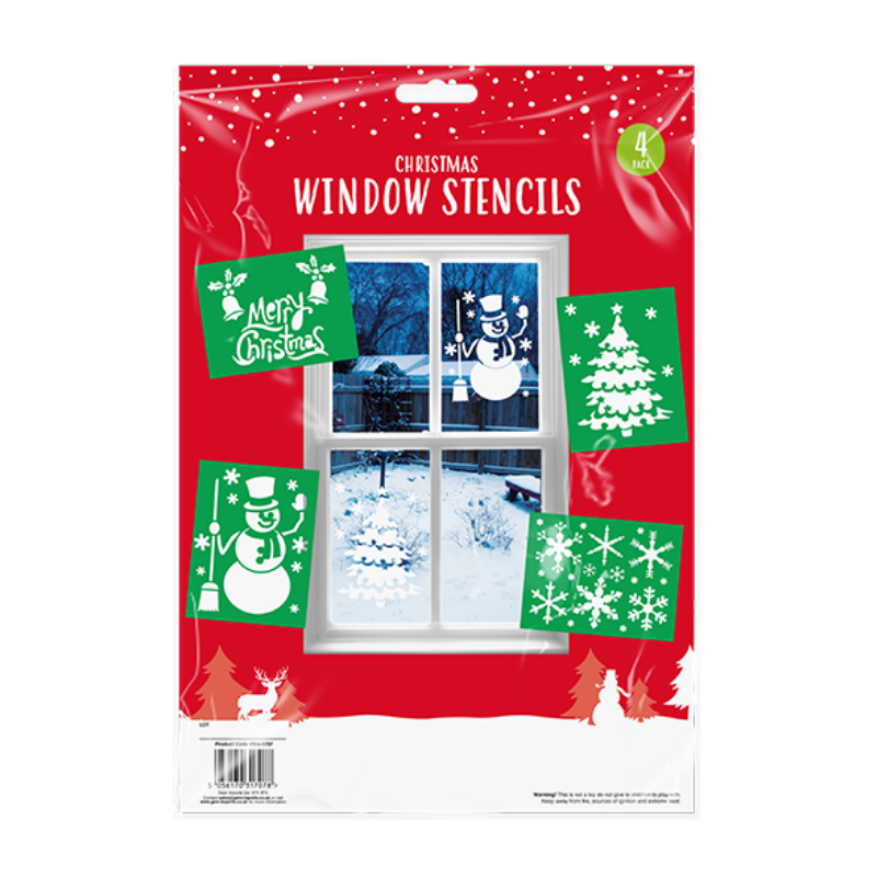 4 PACK CHRISTMAS WINDOW STENCILS