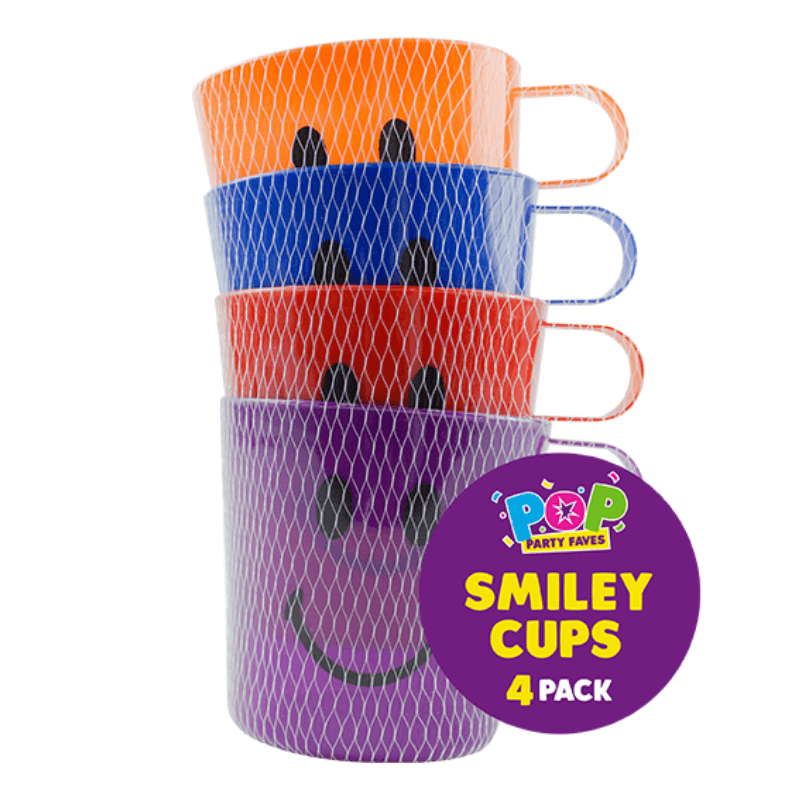 4 SMILEY FACE PLASTIC MUGS | Cheap Toys | PoundToy