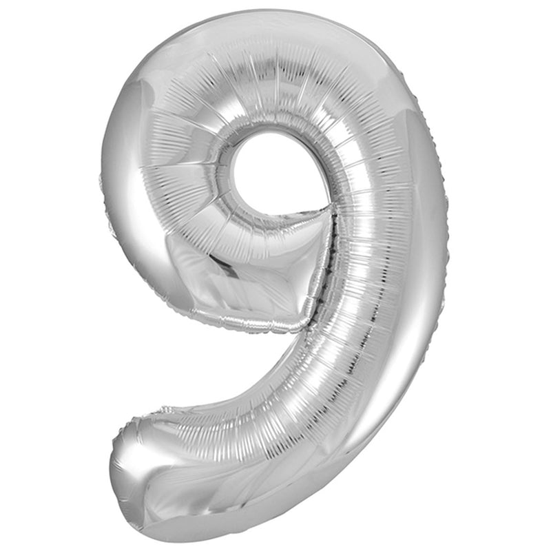 SILVER FOIL BALLOON - NUMBER 9 | Cheap Toys | PoundToy