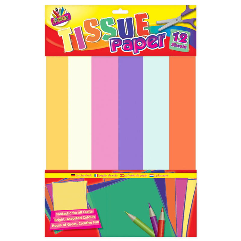 A3 Coloured Tissue Paper 12 Sheets