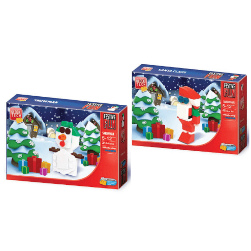 BLOCK TECH CHRISTMAS SANTA & SNOWMAN SET (TWIN PACK) | Cheap Toys | PoundToy