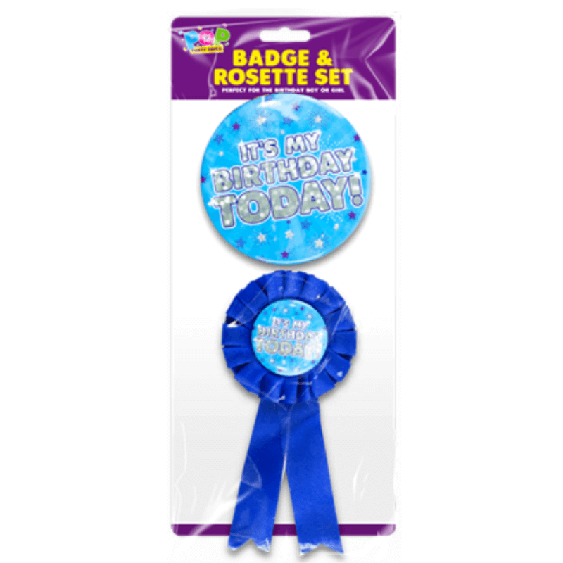 Blue Birthday Badge & Rosette Set