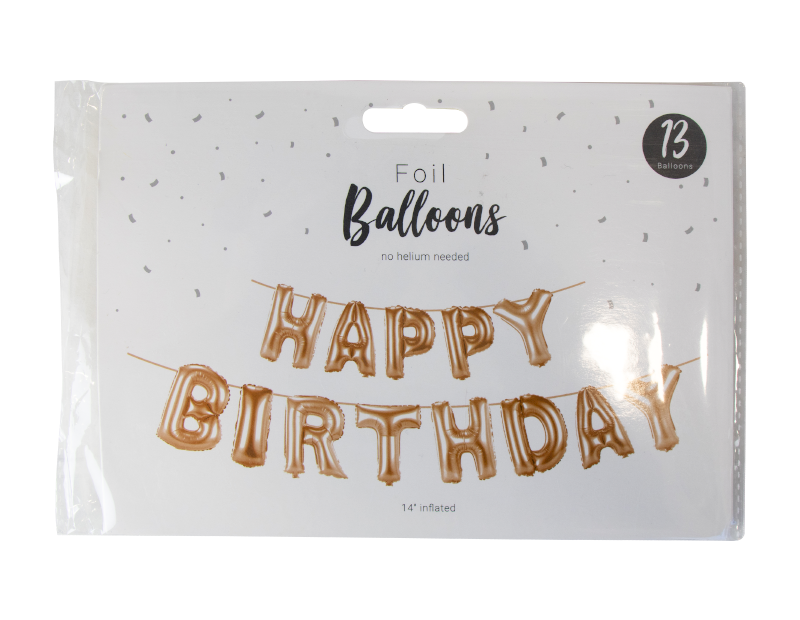 BRONZE HAPPY BIRTHDAY LETTERS FOIL BALLOON