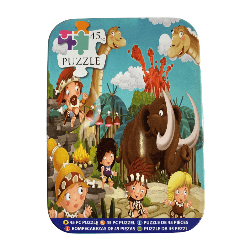 CAVEMAN ADVENTURE PUZZLE IN A TIN