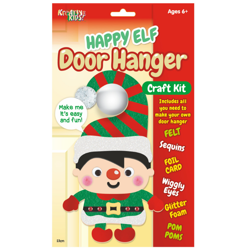 CHRISTMAS HAPPY ELF DOOR HANGER