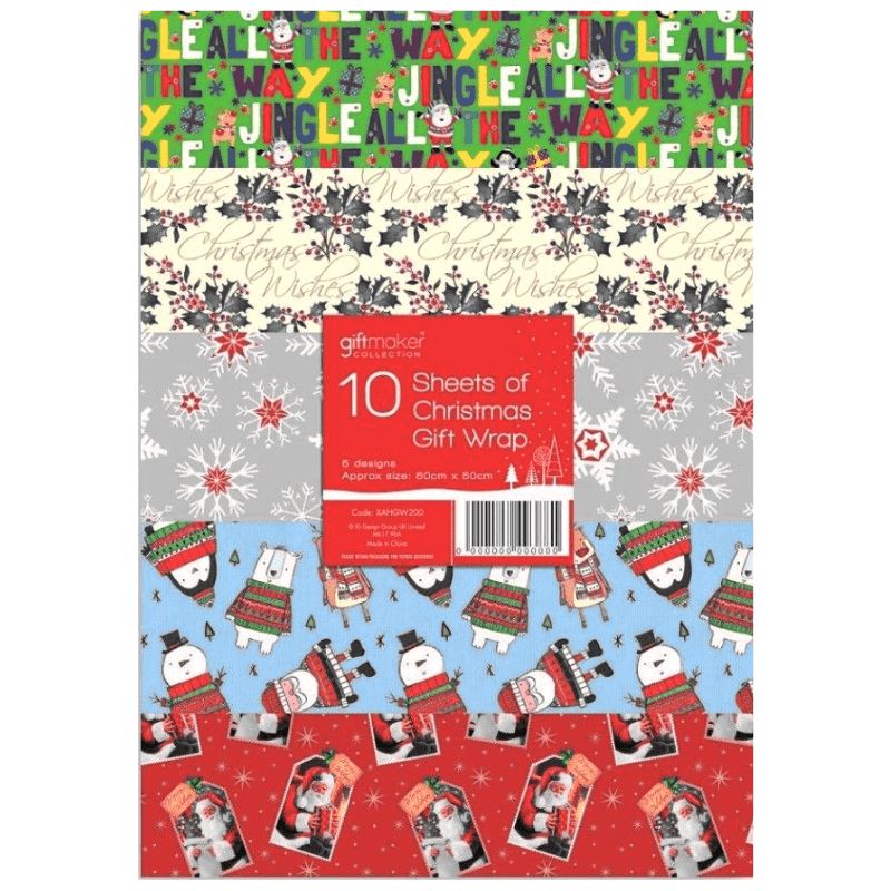 10 SHEETS OF CHRISTMAS WRAPPING PAPER