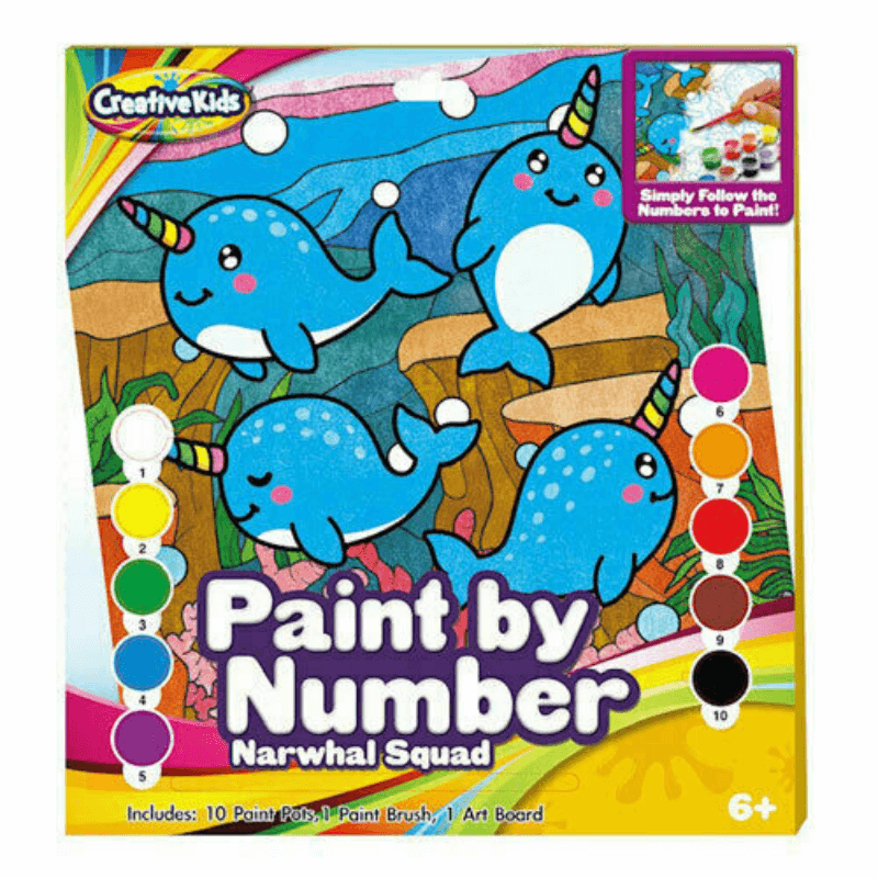 CREATIVE KIDS NARWHAL SQUAD PAINT BY NUMBERS