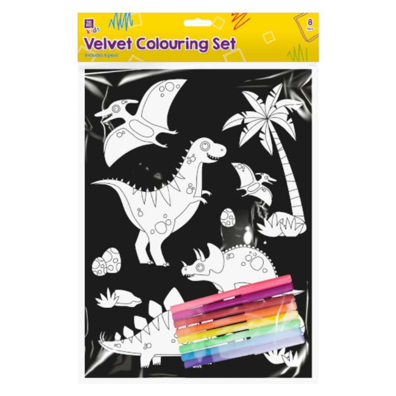 DINOSAUR VELVET LARGE A5 COLOURING SET | Cheap Toys | PoundToy