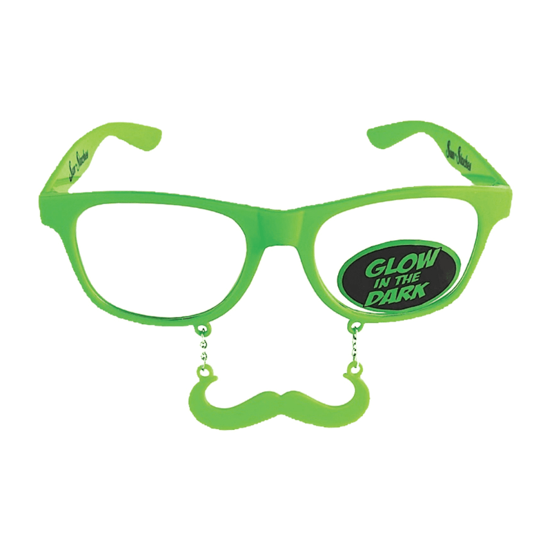 GLOW IN THE DARK MOUSTACHE GLASSES