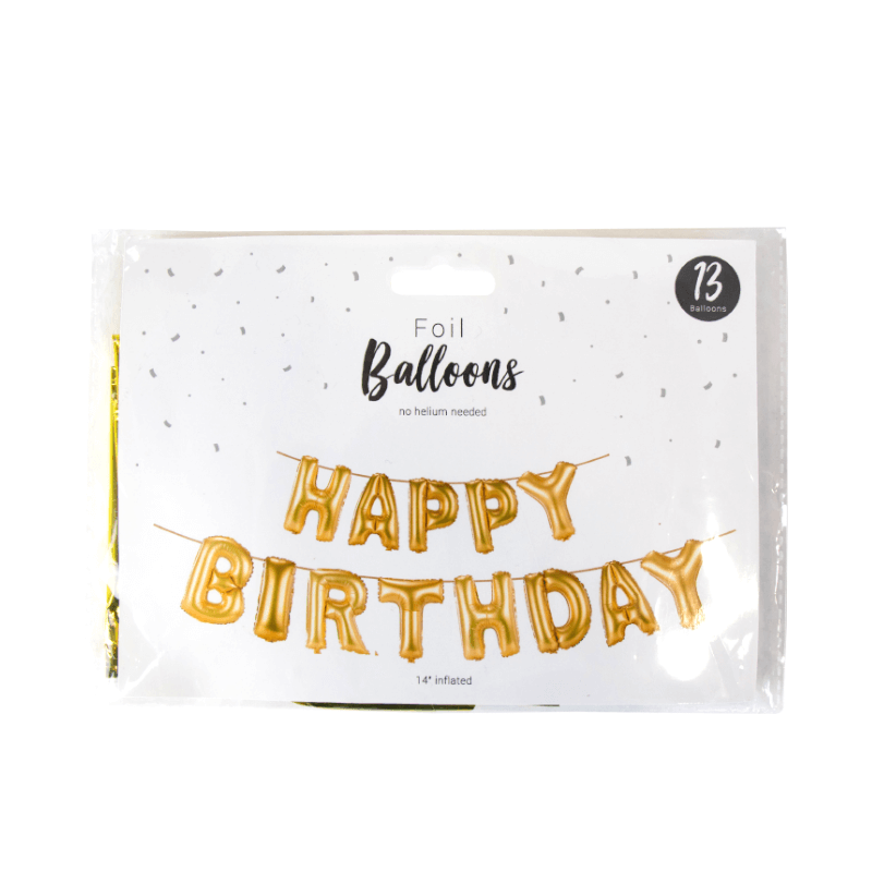 Gold Happy Birthday Letters Foil Balloon