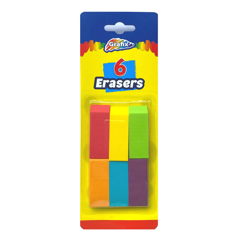 Grafix 6 Multicoloured Erasers