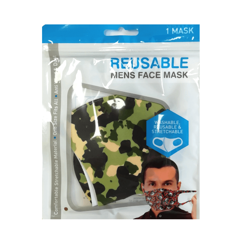Mens Reusable Face Mask - Camo/Army
