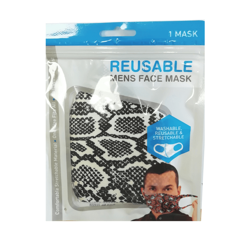 Mens Reusable Face Mask - Snake Skin