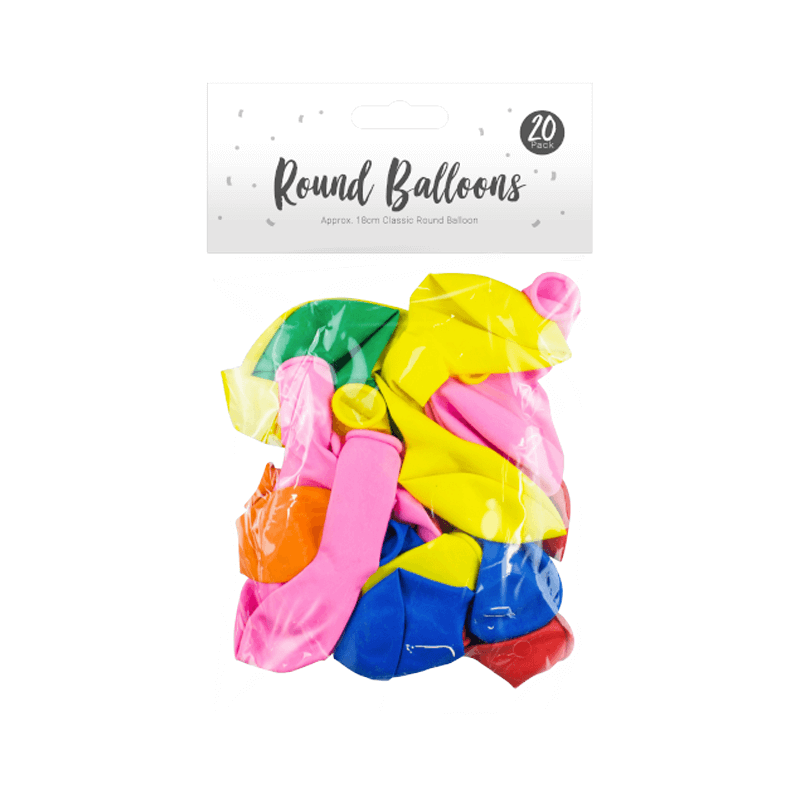 Multicoloured Round Balloons 20 Pack