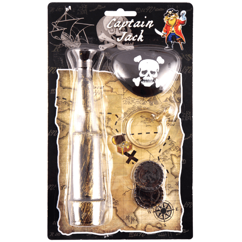 Pirate Telescope, Eyepatch, Coins & Earring