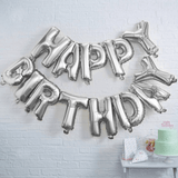 Silver Happy Birthday Letters Foil Balloon