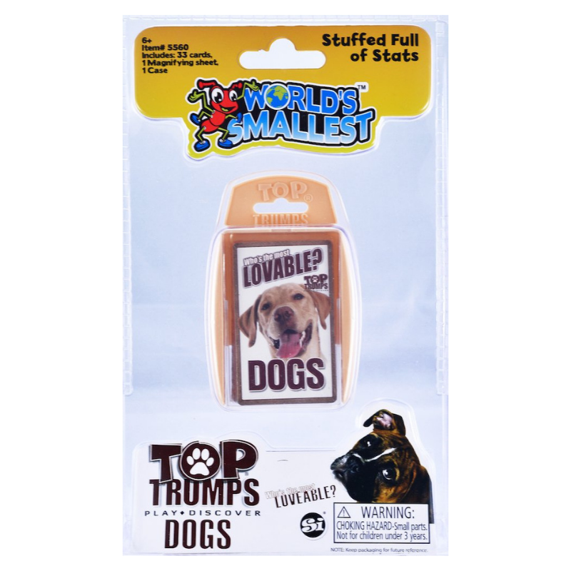 DOGS WORLDS SMALLEST TOP TRUMP CARDS