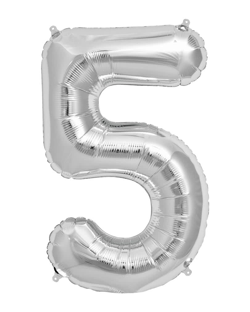 SILVER FOIL BALLOON - NUMBER 5 | Cheap Toys | PoundToy