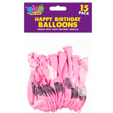 15 PINK HAPPY BIRTHDAY BALLOONS | Cheap Toys | PoundToy