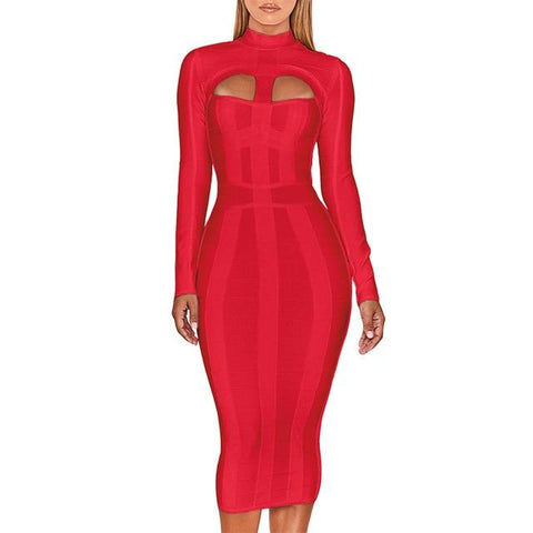 Bandage Dress Bodycon Cut Out High Neck Long Sleeve Rayon - Easy Pickins Store