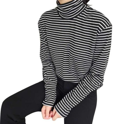 Black White Striped Long Sleeve T-shirt Turtleneck Plus Sizes - Easy Pickins Store