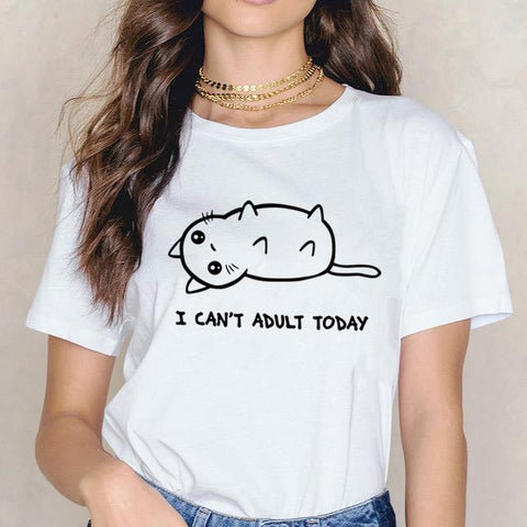 Cat Funny T-shirt Short Sleeve - Easy Pickins Store