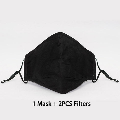 Cotton PM2.5 Black mouth Mask anti dust Mouthmask Activated carbon filter Windproof Mouth-muffle bacteria proof Flu Facemask - Easy Pickins Store