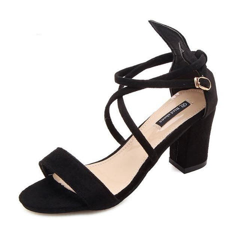 Cross Strap Buckle Sandals High Heels Thick Shallow - Easy Pickins Store