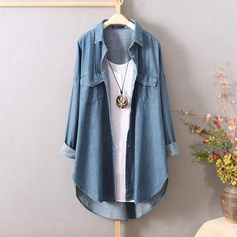 Denim Blue Blouse Lapel Neck Long Sleeve - Easy Pickins Store
