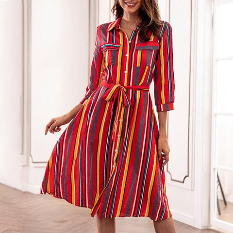 Dress Long Sleeve Striped Multicolor Loose Button With Belt - Easy Pickins Store