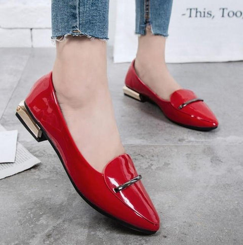 Elegant Pointed Toe Flat Leather Flats - Easy Pickins Store