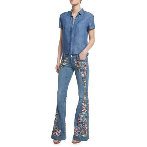 Embroidery Flowers Flare Jeans Button Waist Bell Bottom Denim - Easy Pickins Store