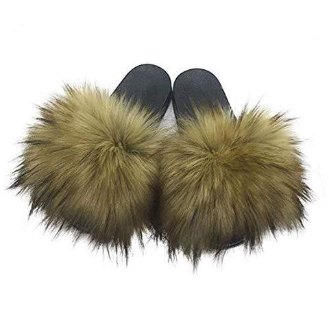 Faux Fur Slides Slippers Open Toe Furry Slide Flip Flop - Easy Pickins Store