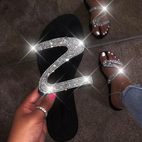 Flat Sandals Bling Slippers Gladiator Low Heels - Easy Pickins Store