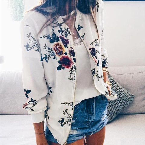 Floral Bomber Short Zipper Long Sleeve Jacket - Easy Pickins Store