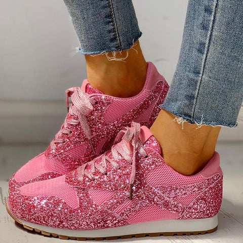 Glitter Sneakers Mesh Lace Up Platform Comfort Plus Sizes Vulcanized - Easy Pickins Store