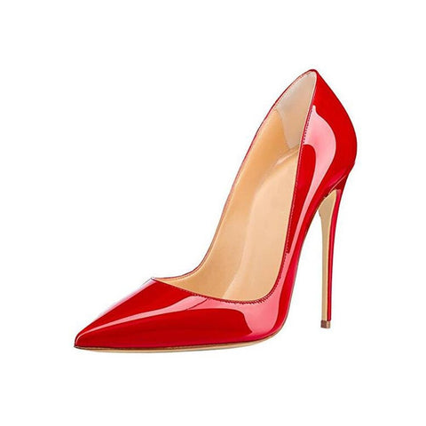 "High Thin Heels 4""-4.5"" Pumps Red Pointed Toe Leather - Easy Pickins Store"