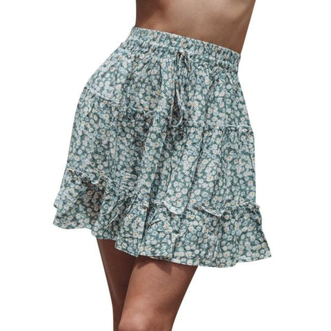 High Waist A Line Bohemian Floral Elastic Short Skirt - Easy Pickins Store