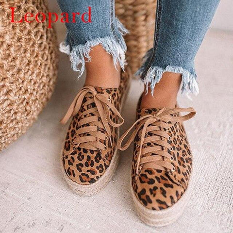 Leopard Lace Up Canvas Platform Sneakers Comfortable - Easy Pickins Store