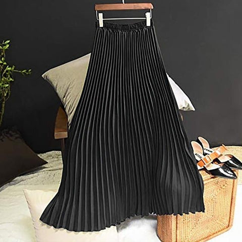 Long Pleated Skirt Solid Elegant Midi Elastic Waist - Easy Pickins Store