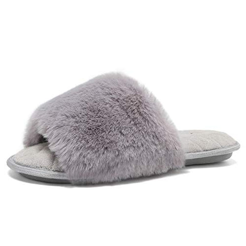 Furry Faux Fur Slippers Memory Foam Slippers Slip on