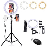 Dimmable LED Selfie Ring Light 5500k YouTube Video Makeup Lighting&160cm Adjustable Camera Tripod Stand/Phone Holder/Bluetooth - DayDeals.ch
