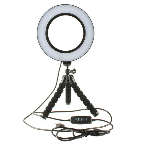 Mini LED Ring Light 3 Color Modes & 10 Brightness Level Portable Video Light 16CM Annular Lamp for Youtube Photo Shooting Tripod - DayDeals.ch