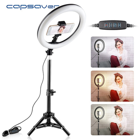 RL-10 Dimmable LED Ring Light 26cm USB Makeup Ring Lamp with Phone Holder Tripod for Selfie Camera Youtube Shoot - DayDeals.ch