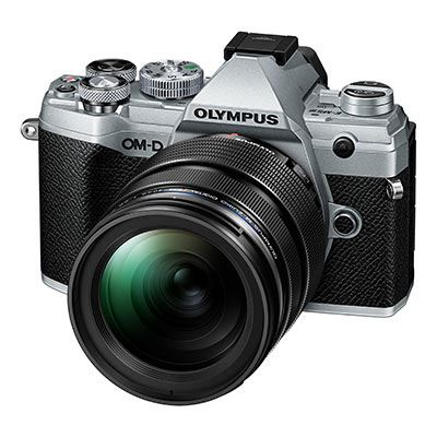 Olympus OM-D E-M5 Mark III Digital Camera with 12-40mm Lens - black and silver - front view