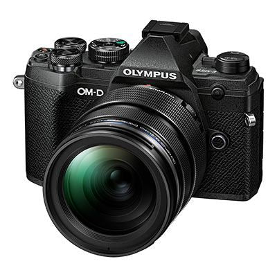 Olympus OM-D E-M5 Mark III Digital Camera with 12-40mm Lens - black - front view
